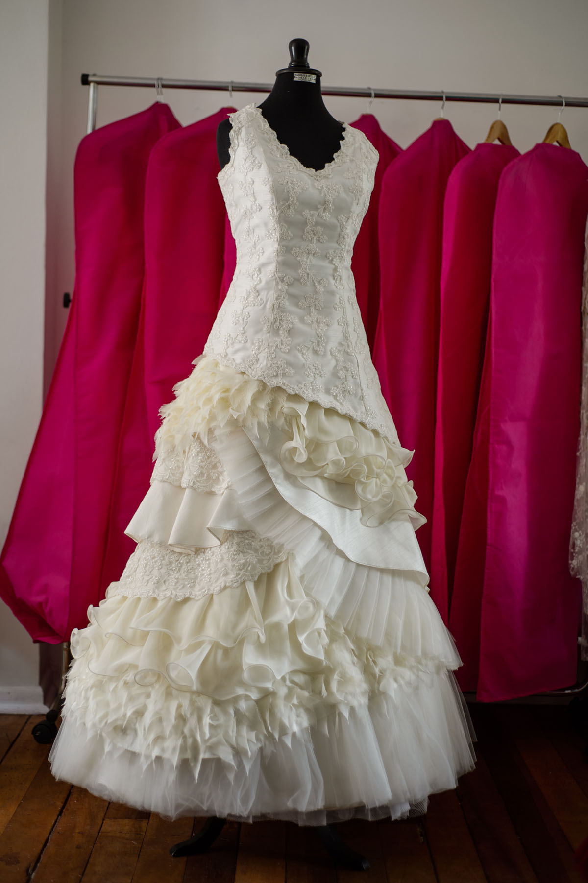 vestido de novia en capas